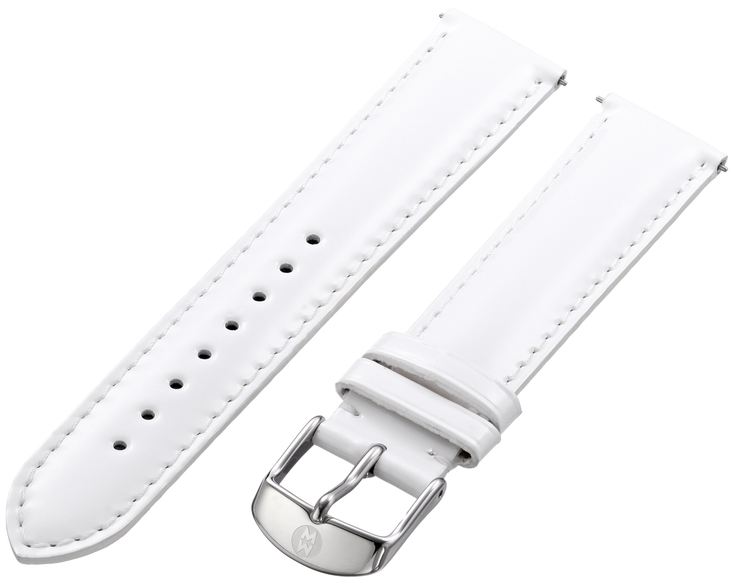 MICHELE MS18AA050100 18mm Patent Genuine Leather White Watch Strap