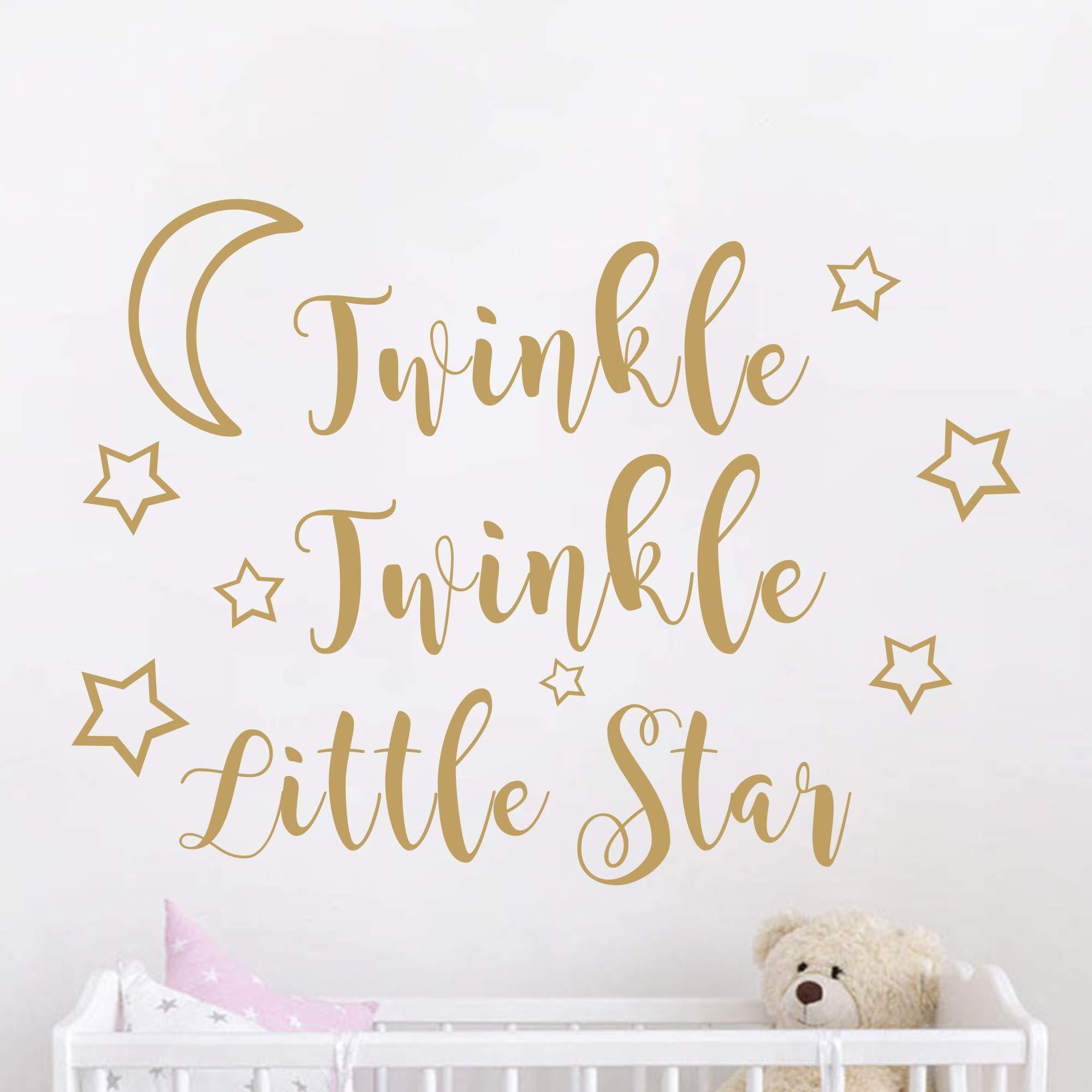 JOYRESIDE Twinkle Twinkle Little Star Wall Decal Art Vinyl Sticker for Kids Baby Boy Girl's Room Decoration Nursery Bedroom Home Decor YMX29 (Matte Gold, 57x42cm)