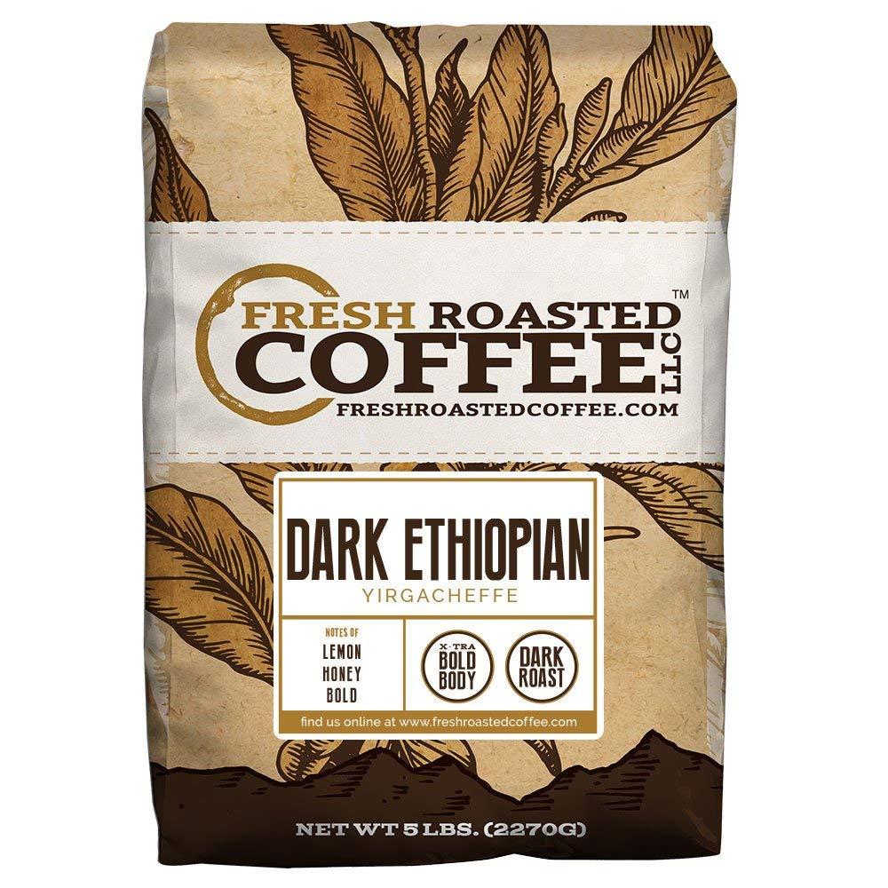 Dark Ethiopian Yirgacheffe Kochere Coffee, Whole Bean, Fresh Roasted Coffee LLC. (5 lb.)