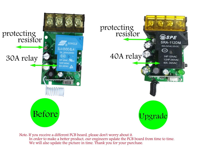 pompe plafonniers et /équipements /électriques avec une port/ée de 328ft. 40A Commutateur RF sans fil pour appareils m/énagers YETOR Commutateur sans fil /à relais sans fil,relais 220V 240V 230V