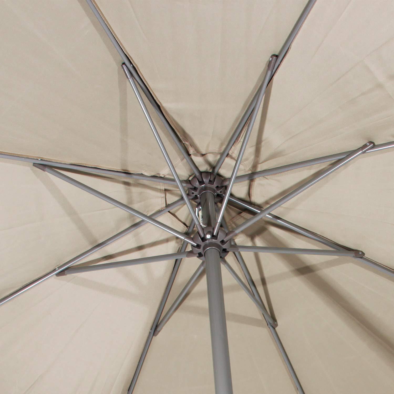 DlandHome Ombrellone da Giardino /Ø 270cm Ombrellone Rotondo da Terrazzo con Rivestimento UV Manovella di Inclinazione,Cachi