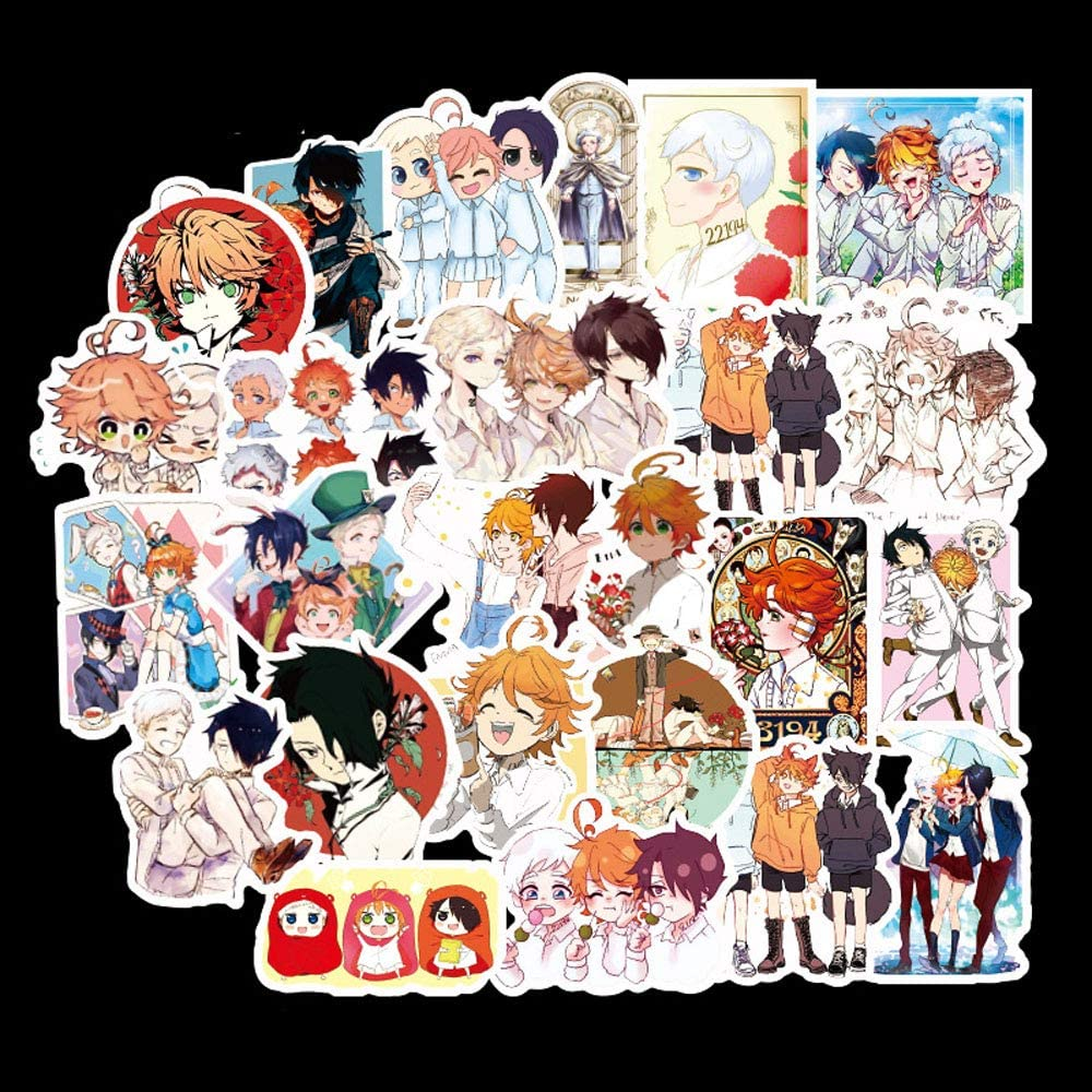 3 PCS Photo Sticker 1 Emma Norman Ray Keychain+1 Carton Paper Tape 3 Button pin The Promised Neverland Gift Set 50 PCS latpop Sticker