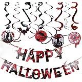AZUNX Set di decorazioni di Halloween, ornamenti a spirale e bandiera di colore del sangue con lettere di Happy Halloween