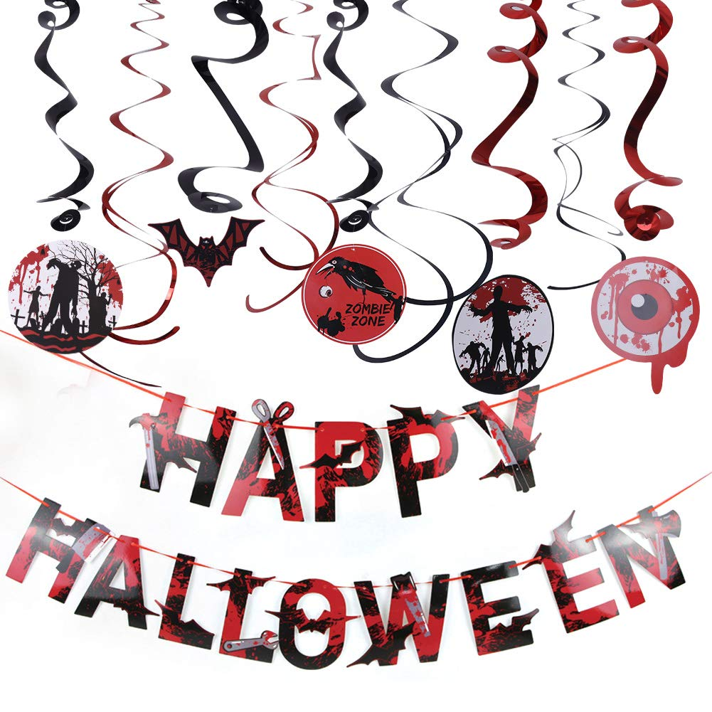 AZUNX Halloween Decoration Set, spiral ornaments and blood color banner with letters of Happy Halloween
