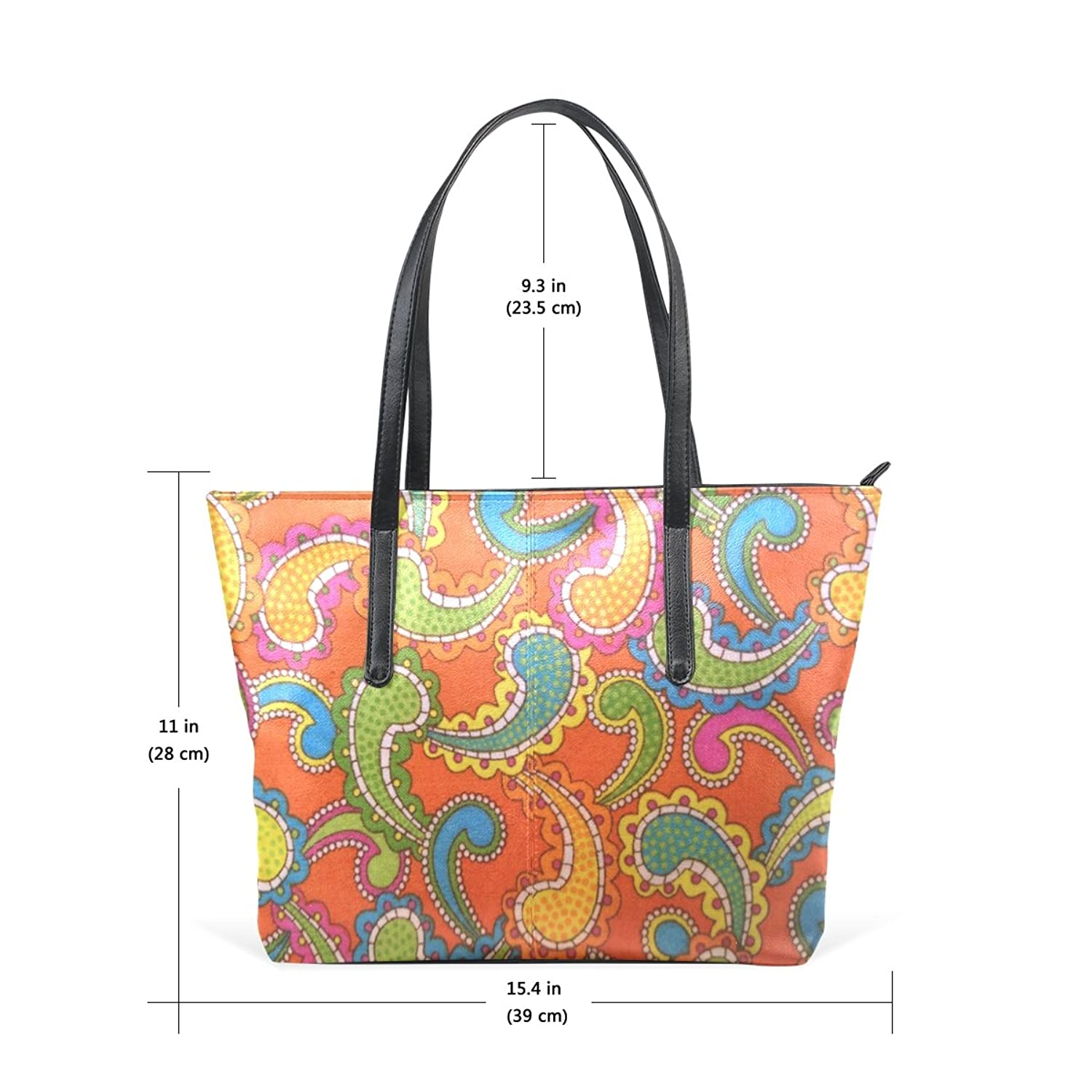 WOOR Paisley Women's Soft Leather Zipper Closure Large Handbags Tote Shoulder Bags