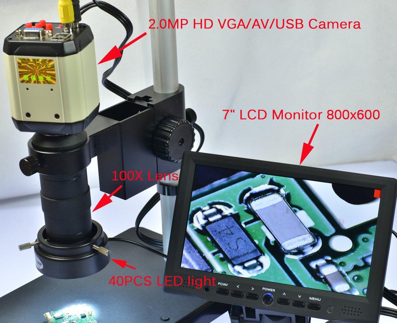 AIHOME 7X-45X Trinocular Digital Industry Zoom Stereo 2.0MP Microscope Camera + 200X USB VGA AV Zoom C-mount Lens Camera Kit