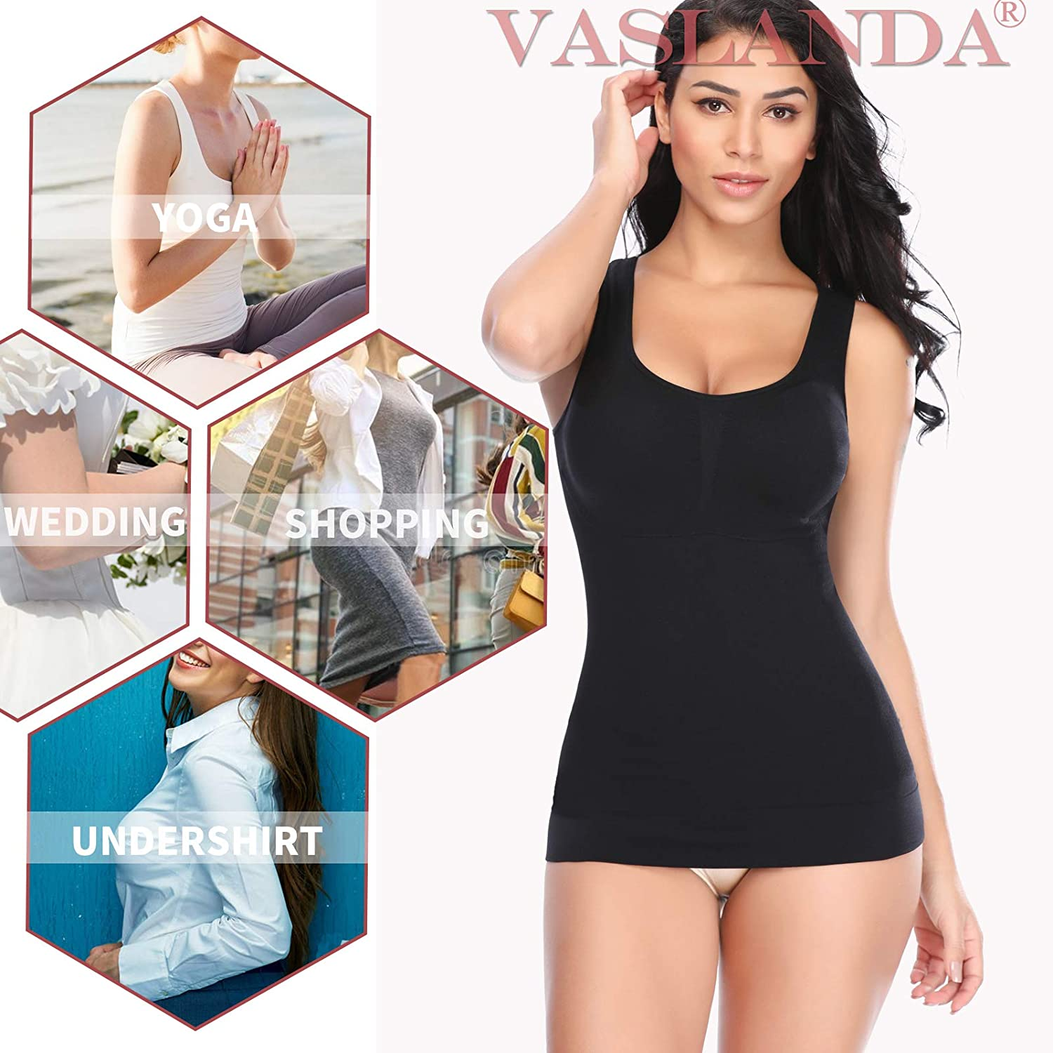 Body Shaping Camisole for Women Built-in Padded Bra Shapewear Shirts Tummy Control Slimming Compression Tank Top