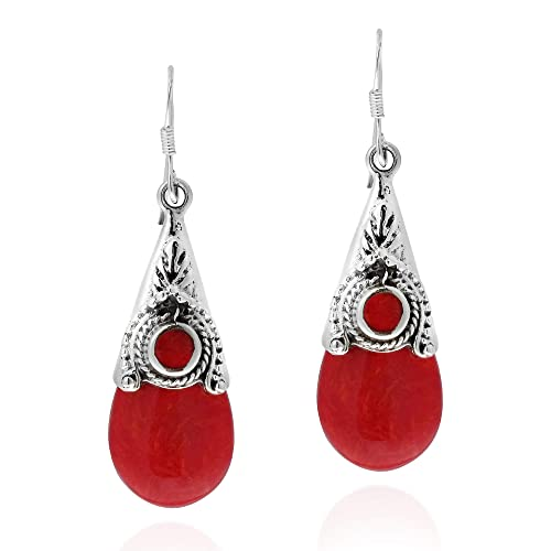c91999e75 Amazon.com: Vintage Red Reconstructed Coral Teardrop .925 Sterling ...