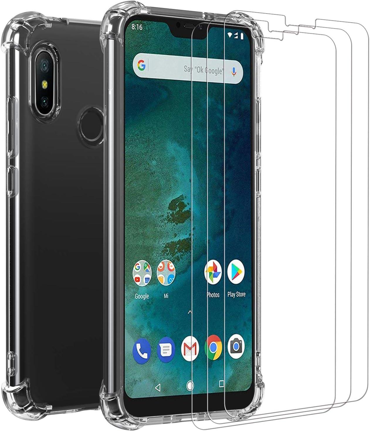 ivoler Funda para Xiaomi Mi A2 Lite + [3 Unidades] Cristal Vidrio Templado Protector de Pantalla, Ultra Fina Silicona Transparente TPU Carcasa Protector Airbag Anti-Choque Anti-arañazos Caso