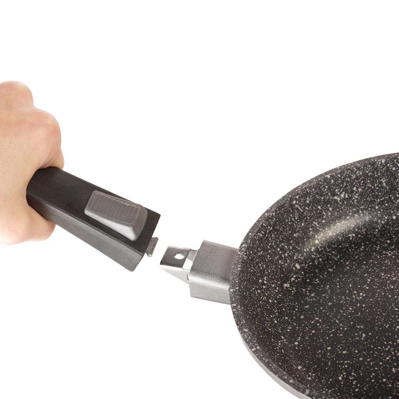 Kitchen Pro-Juego de 3 sartenes piedra, mango extraible todos los fuegos, incluso inducción, 20% 2F24% 2F28 cm, 4 unidades, anti-rayado: Amazon.es: Hogar