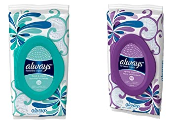 Always Feminine Wipes - Fresh & Clean and Spring Blossom - 64 Wipes