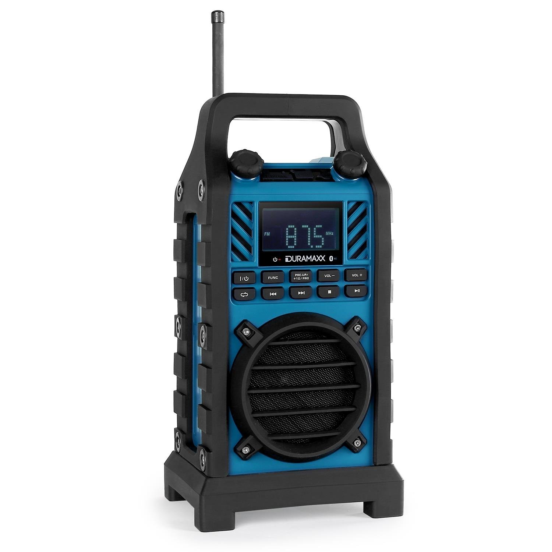 DURAMAXX 862-BT-BL • Bluetooth Lautsprecher • Baustellenradio • MP3-fähige USB-SD-Slots • AUX-Eingang • spritzwassergschützt • Netz- und Batteriebetrieb • blau MG-862-BT-BL