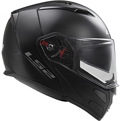 LS2 Helmets Metro Solid Modular Motorcycle Helmet with Sunshield (Matte Black, X-Large