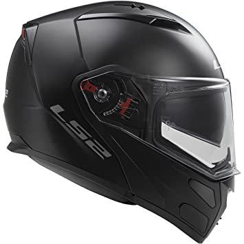 LS2 Helmets Metro Solid Modular Motorcycle Helmet with Sunshield (Matte Black, X-Large)