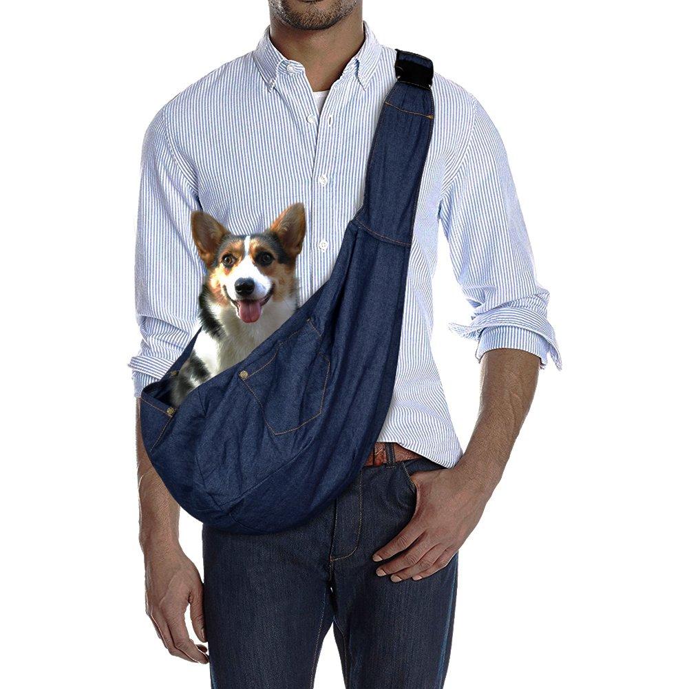 Mtinfly Pet Sling Adjustable Reversible Dog Sling Carrier Bag for Puppy Pet (Jeans)