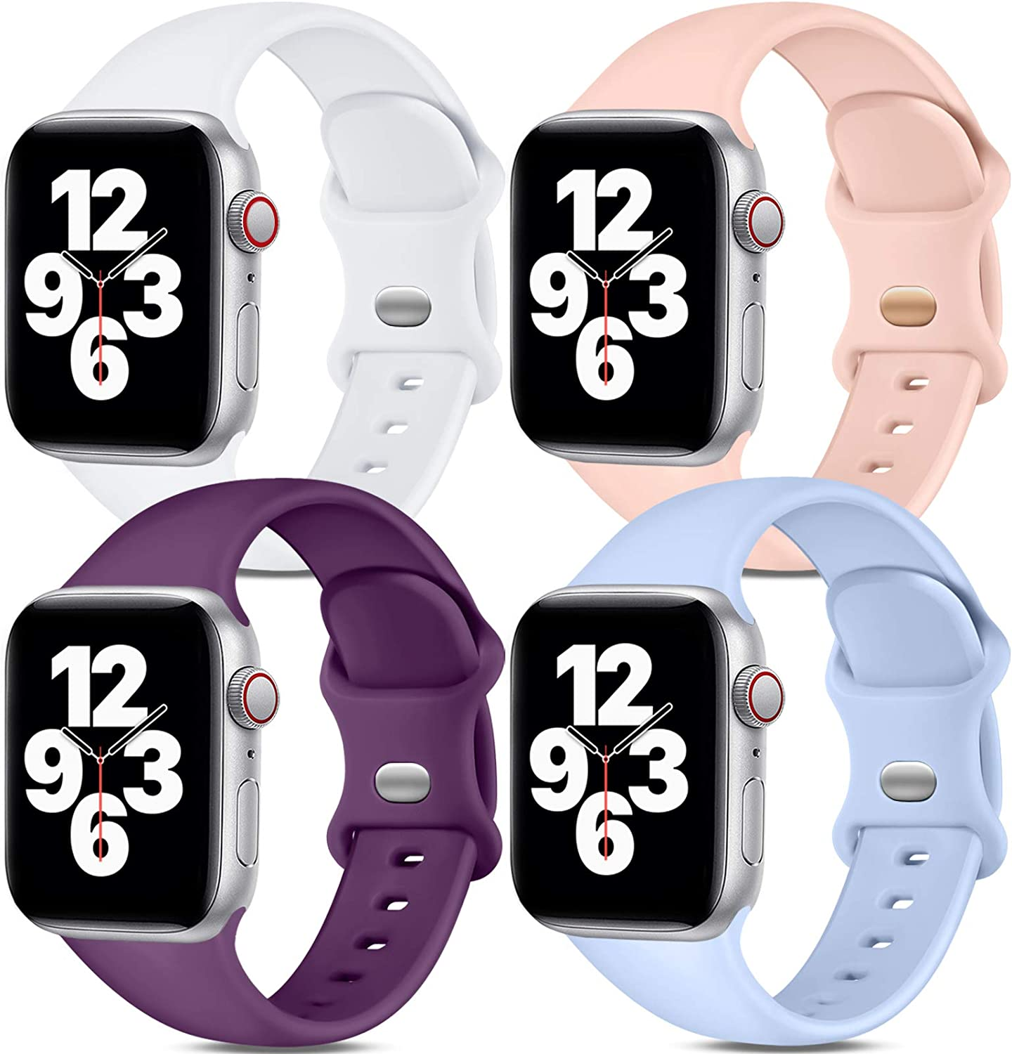 Dirrelo Band Compatible with Apple Watch Bands 42mm 44mm, [4-Pack] Soft Silicone Strap Wristbands for iWatch Series 3 5 6 4 2 1 SE Women Men, S/M White, Pinksand, Dark Purple, Purple