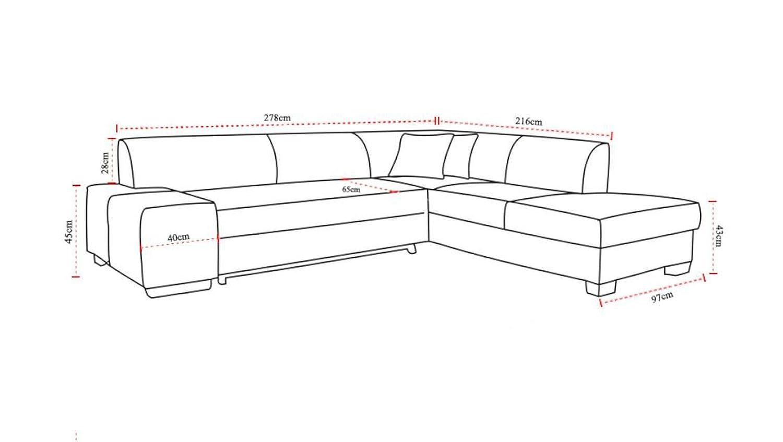 JUSTyou Porto Sofá esquinero Chaise Longue función de Cama Sofá-Cama Tejido Estructural Tamaño: 73x278x216 cm Gris Brazo Izquierdo