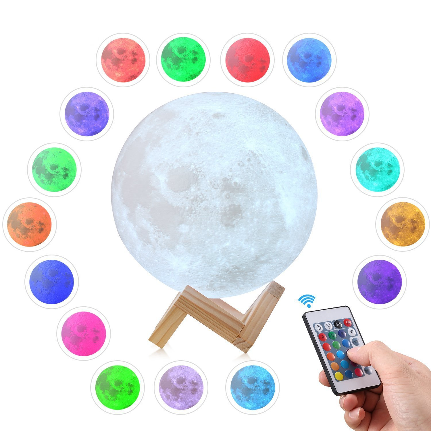 3D Printing LED Moon Lamp Lighting Night Light, Dimmable Remote Control 16 Colors RGB Touch Control Adjustable Brightness Rechargeable Moon Light with Wooden Base for Home Decorative 5.9 inch