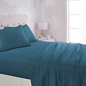 "AmazonBasics Lightweight Super Soft Easy Care Microfiber Sheet Set with 16"" Deep Pockets - Queen, Dark Teal"