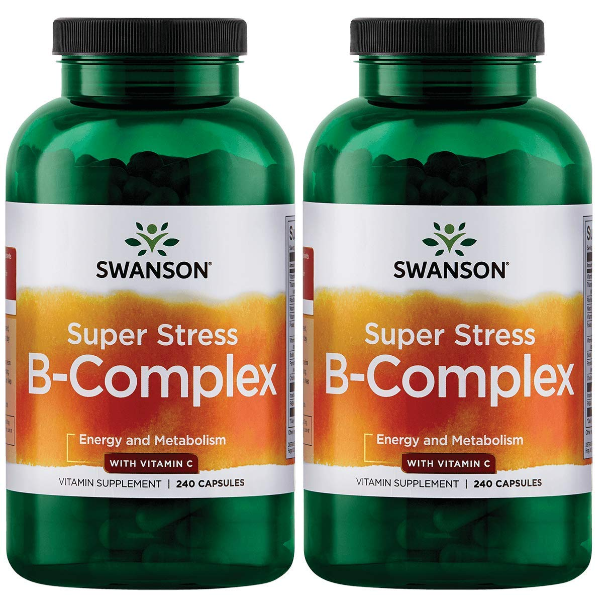 Swanson B Vitamin Stress Complex with Vitamin C Stress Relief Energy Immune Health 500 mg 240 Capsules (2 Pack) by Swanson