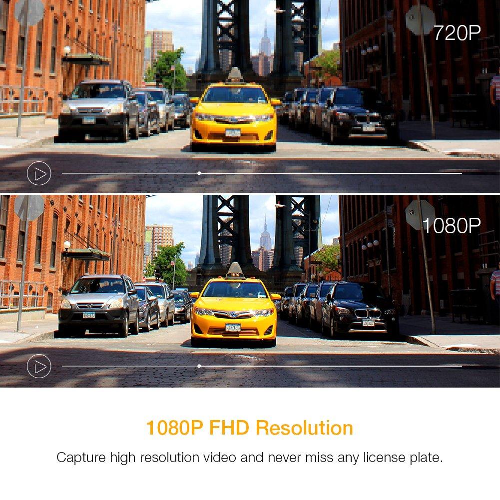 apeman Dashcam Autokamera GPS Dual Lens Full HD 1080P Vorne und 720p Hinten Kamera 170/° Weitwinkel mit G Sensor Bewegungserkennung Parkmonitor【Aktualisierte Version】 WDR Loop-Aufnahme