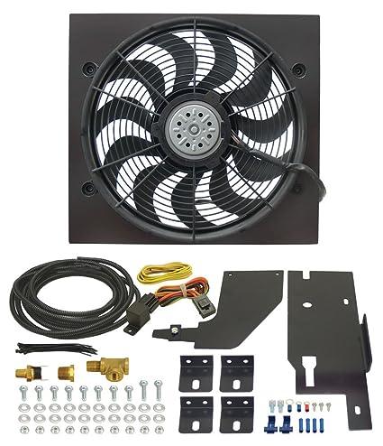 Amazon.com: Derale 20161 Jeep Wrangler Direct Fit Electric Fan Kit on fan wiring diagram, thermostat wiring diagram, electric fuel pump wiring diagram, derale oil cooler wiring diagram, hot rod wiring diagram,