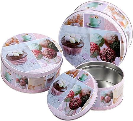 Set de 3 cajas para tartas galletas de Navidad redonda de metal Alsino Gigogne se imbriquent Comme Des muñecas rusas a utilizar también como objetos de decoración o caja regalo recinto: Amazon.es: