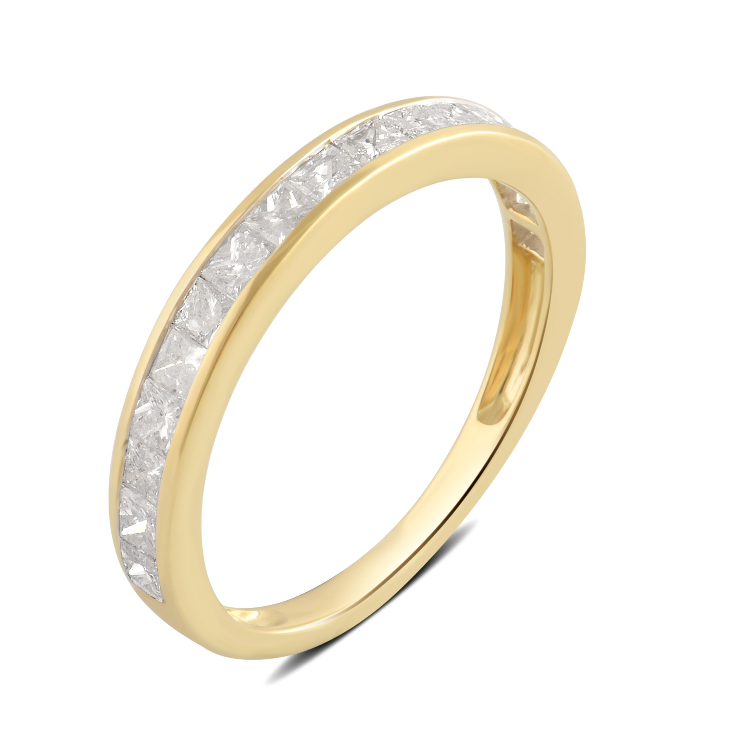 1.00 Cttw Princess Diamond Channel Band in 10K Yellow Gold