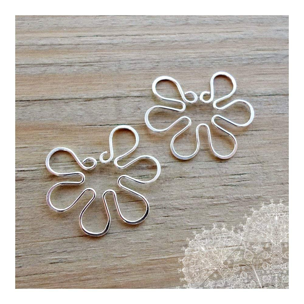 Fake Nipple Ring Set of 2 Non Pierced Silver Wire Flower Piercing Body Jewelry for Women by MS body jewelry