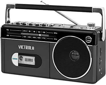 Victrola Mini Bluetooth Boombox with Cassette Player, Recorder and Am/FM Radio, Grey