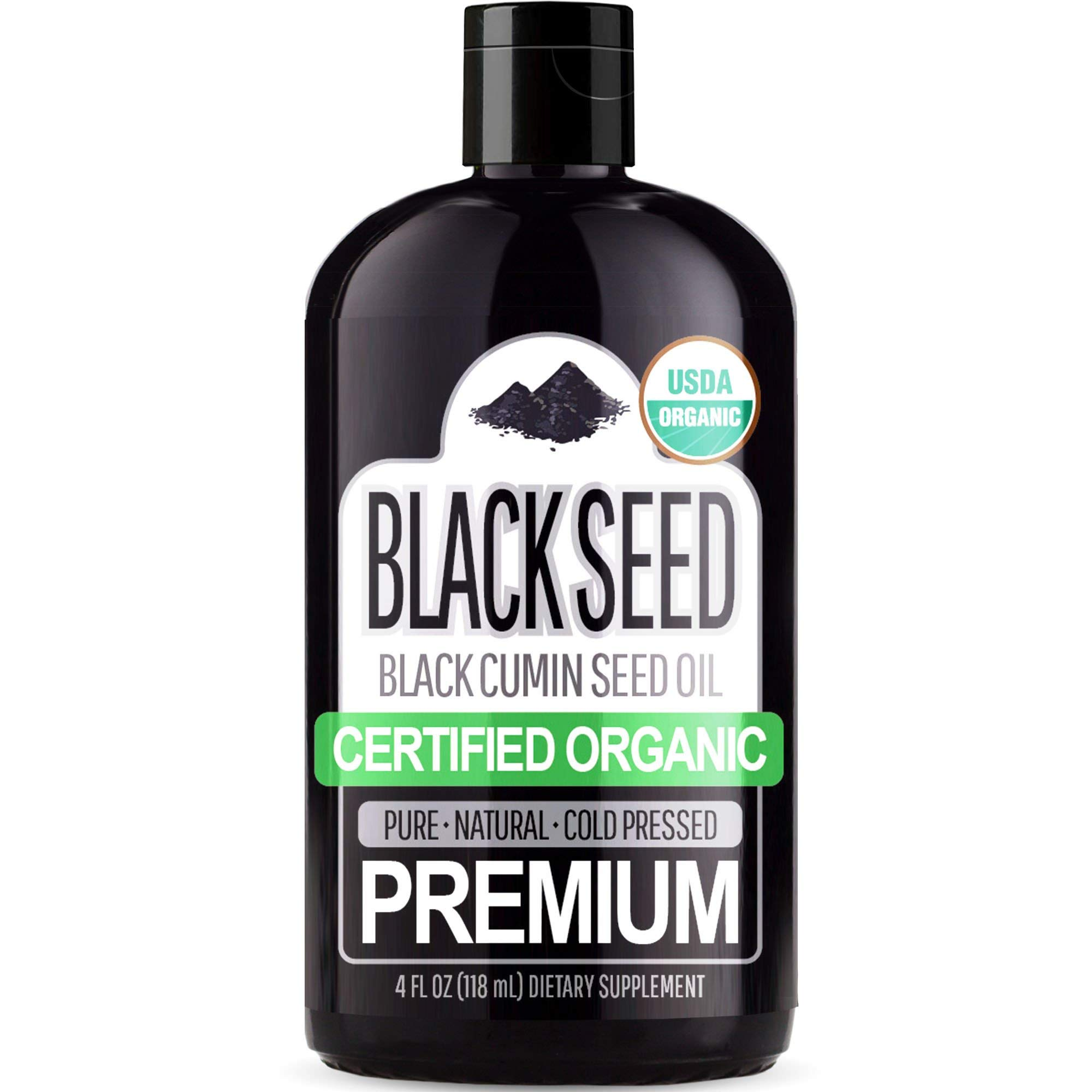 Organic Black Seed Oil (100% Pure & Natural Black Cumin Seed Oil - USDA Certified Organic) Cold Pressed, Premium Quality Free of Toxins, Heavy Metals, Pesticides, and Other Harmful Chemicals - 4oz Bot