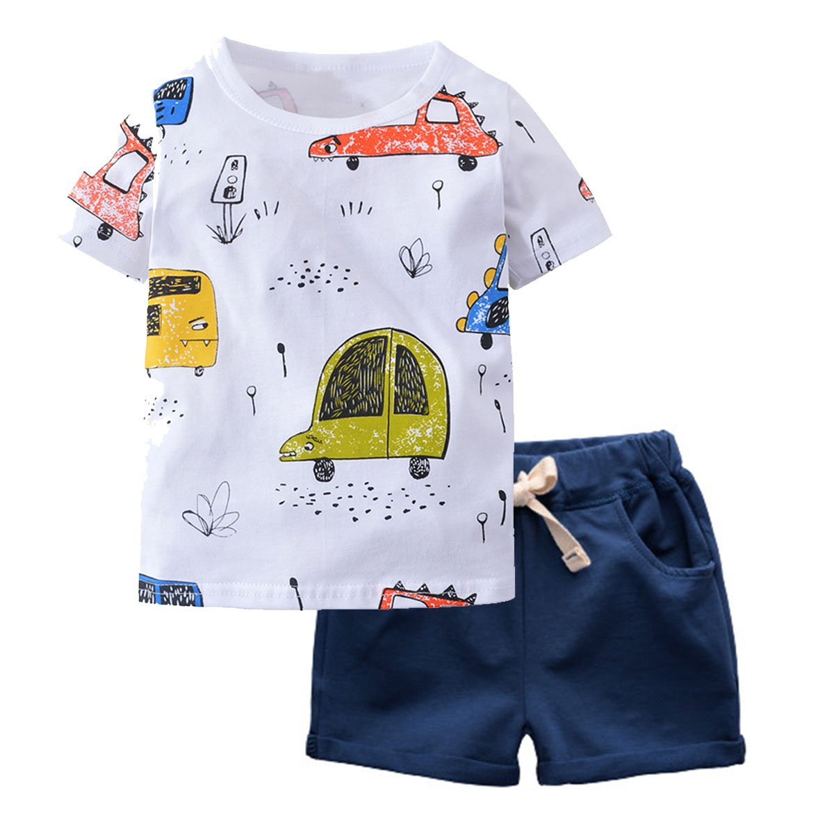 Little Boy Clothing Set Toddler Kid Cute Car Print T-Shirt Navy Shorts Outfit 2T
