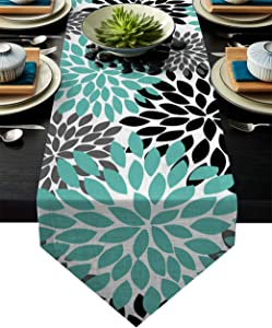 KAROLA Table Runner 13 X 90 Inch Decorative Table Runner for Dinner Parties & Events,Outdoor or Indoor Decor,Multicolor Dahlia Pinnata Flower Customized Teal,Black,Grey