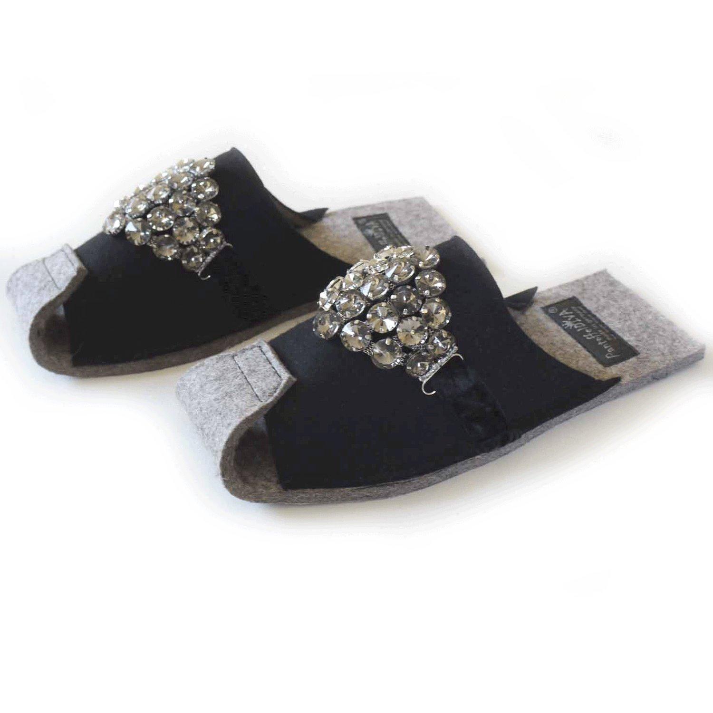 PantoffelDIVA PantoffelDIVA PantoffelDIVA Pantofola Diva, Feltro Pantofola, Nappe, Taglia Unica, colore  Nero 673e18