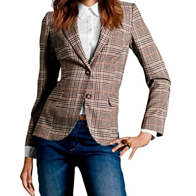Coolred-Women 2 Button Lapel Plaid Casual Patches Suit Jacket Blazer