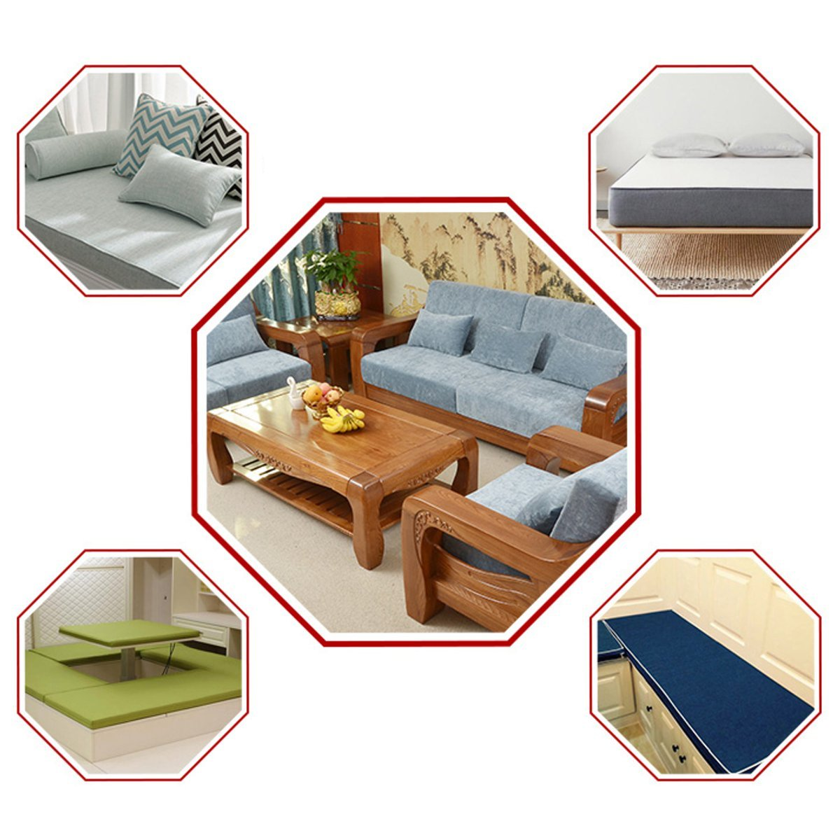 RanDal 75X40Cm High Density Upholstery Cushion Foam Chair Sofa Seat Foam Pad Sheet 2.5Cm