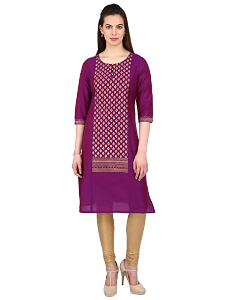 976b85d40b6 Srishti by fbb Women s Purple Gold Printed Festive Kurta  Amazon.in   Clothing   Accessories