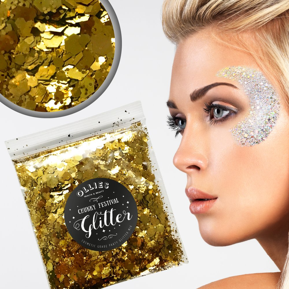 5g Chunky Festival Cosmetic Glitter With Holographic And Iridescent Mixed Loose Flakes For Face Skin Body Hair Lips Nails Decoration Multi Colour Funky Mixes (Gold) Ollies Health And Beauty