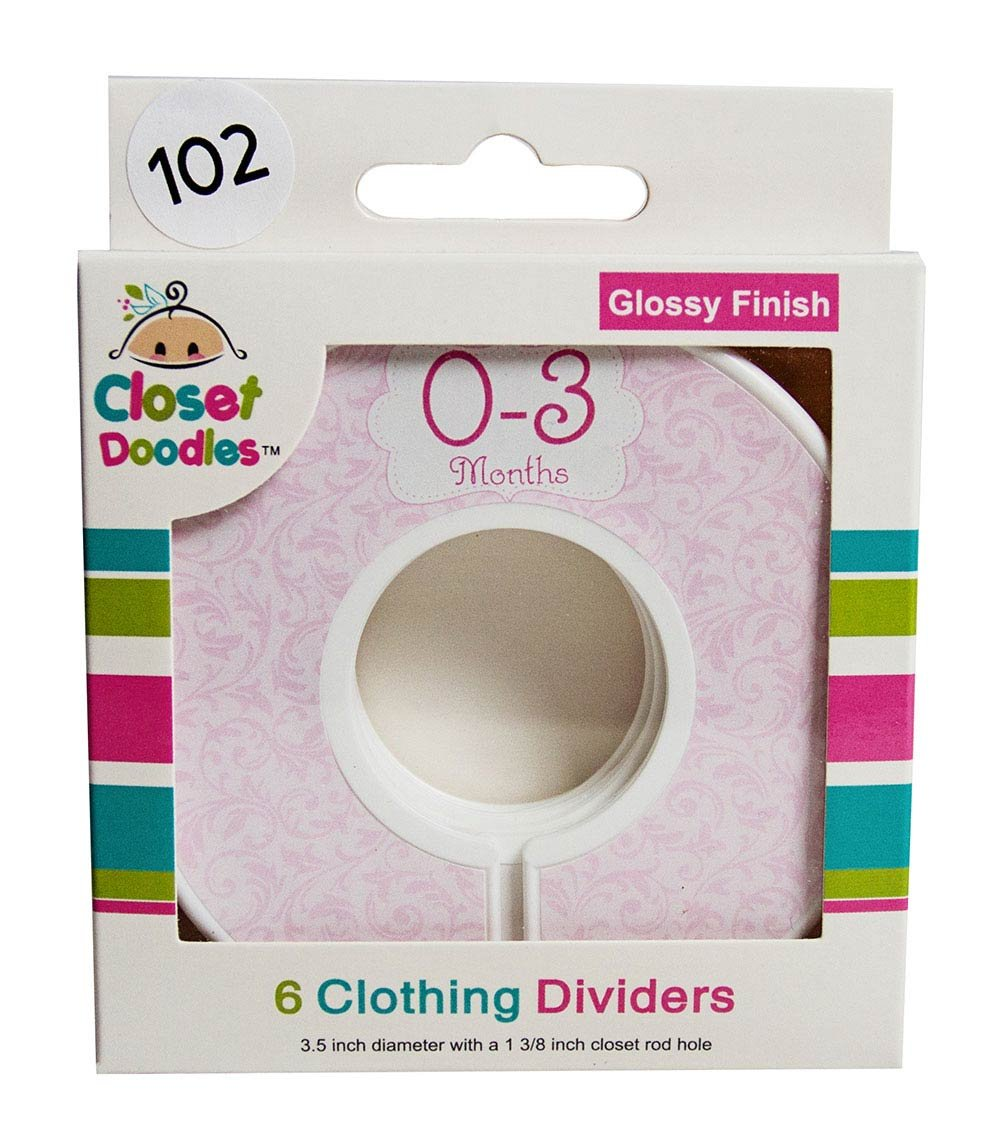 Closet Doodles C102 Roses Girl Baby Clothing Dividers Set of 6 Fits 1.25inch Rod Digitaldoodlebug