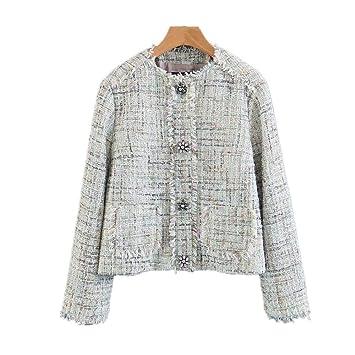 WJMM Mujeres Blazer Abrigo Tweed De Mujer con Cuello En U ...