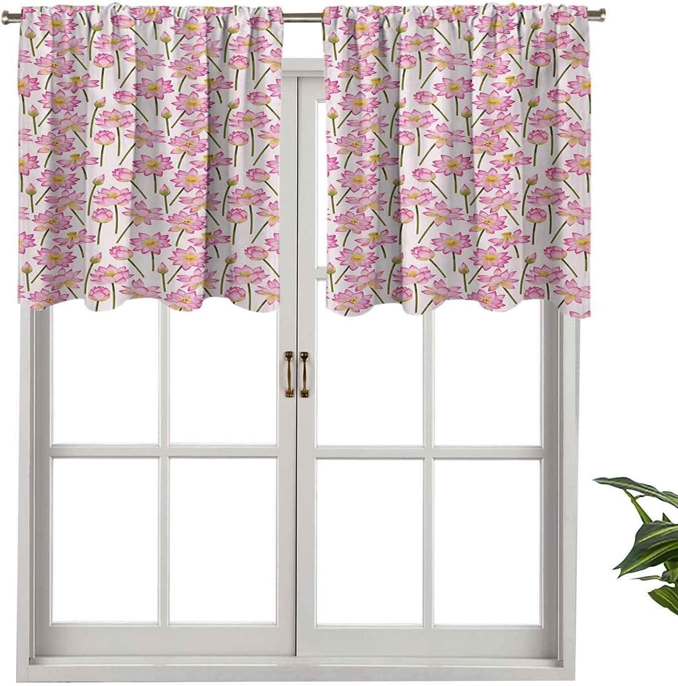 Hiiiman Cortina con aislamiento térmico para decoración del hogar, cenefa de barra, diseño de flores de purificación del alma, remedio homeopático, juego de 1, 106,7 x 45,7 cm para ventana del sótano