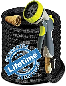 Expandable Garden Hose w/Spray Nozzle Brass Fitting Flexible No Kink Lightweight Portable Water Hose. Best for Gardening RV accessories (75 ft)