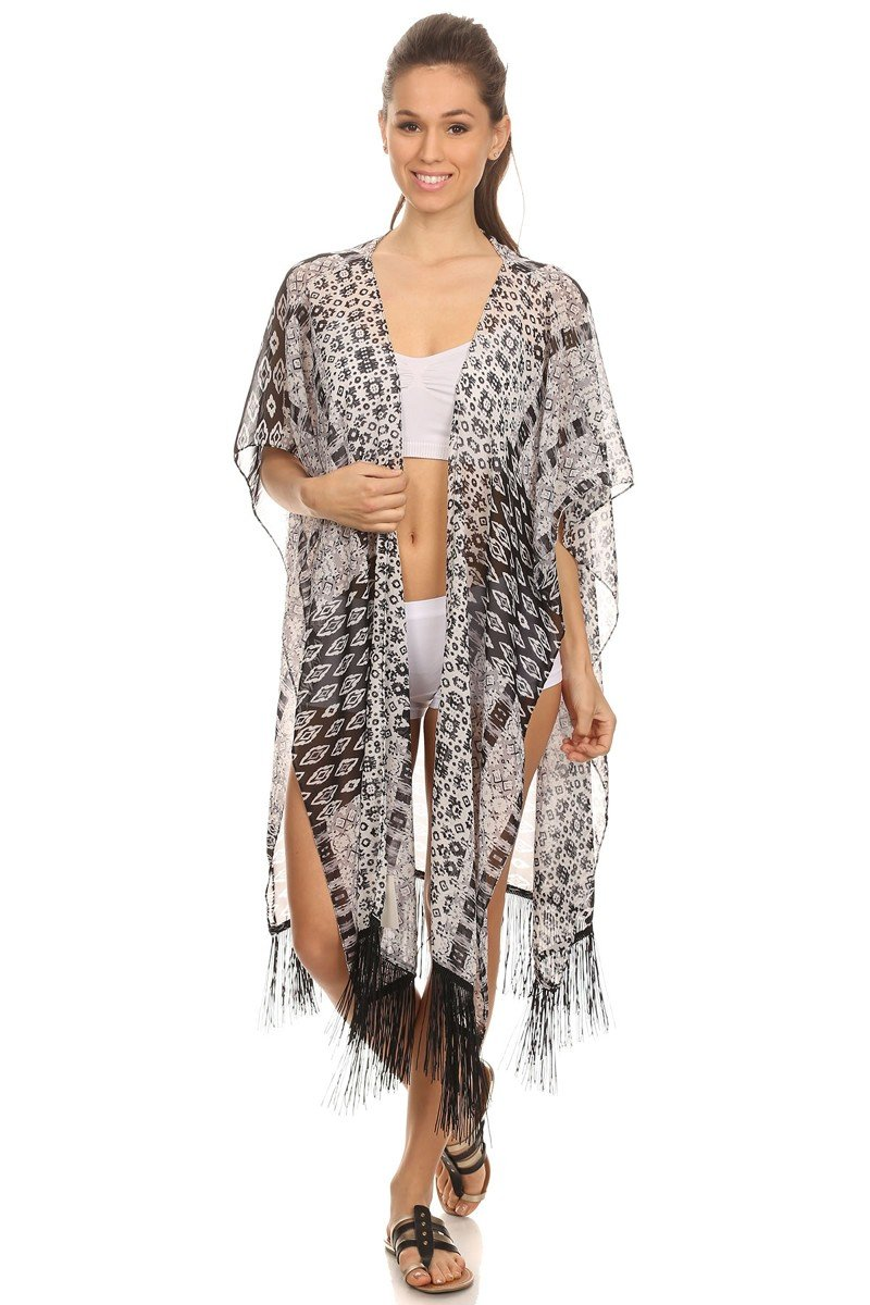 LL- Womens Graphic Black White Summer Chiffon Open Ruana Poncho
