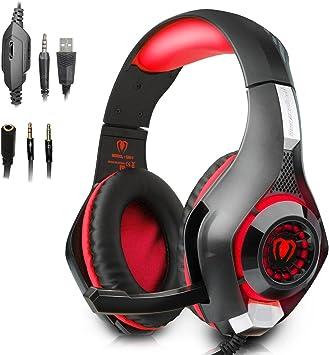 PECHAM 3.5mm Gaming Headset para PlayStation 4, Xbox One, PC, Portátiles, Smartphones, Red: Amazon.es: Videojuegos