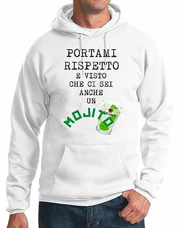 felpa bianca con cappuccio mojito simpatica humor S M L XL XXL maglietta by  tshirteria 756e45a0ac6b