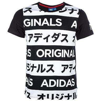 adidas Originals Womens Womens Allover Print Typo T-Shirt in Black-White -  10 0fe4b2eada