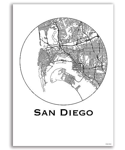 Plakat San Diego USA Minimalist Map - Poster, City Map ...