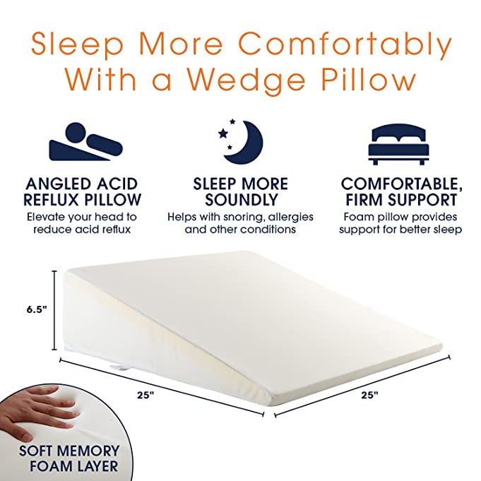 amazoncom cheer collection memory foam wedge pillow with washable cover for acid reflux head or leg elevation or reading support in bed home u0026 kitchen