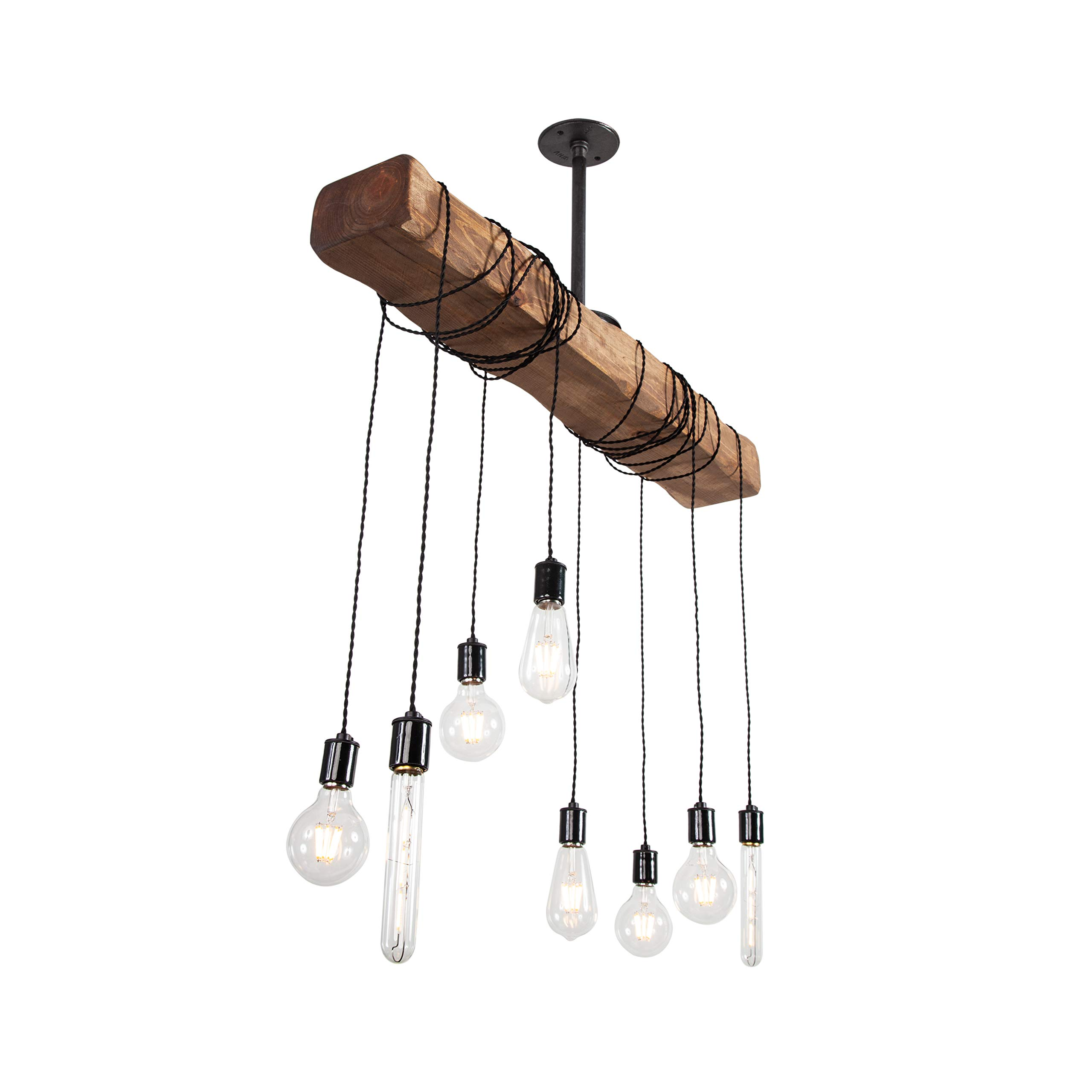 West Ninth Vintage Pendant Wood Beam Chandelier | Indoor Downlight for Farmhouse Home Decor | Kitchen Island | Bar | Dining Room | Early American Stain