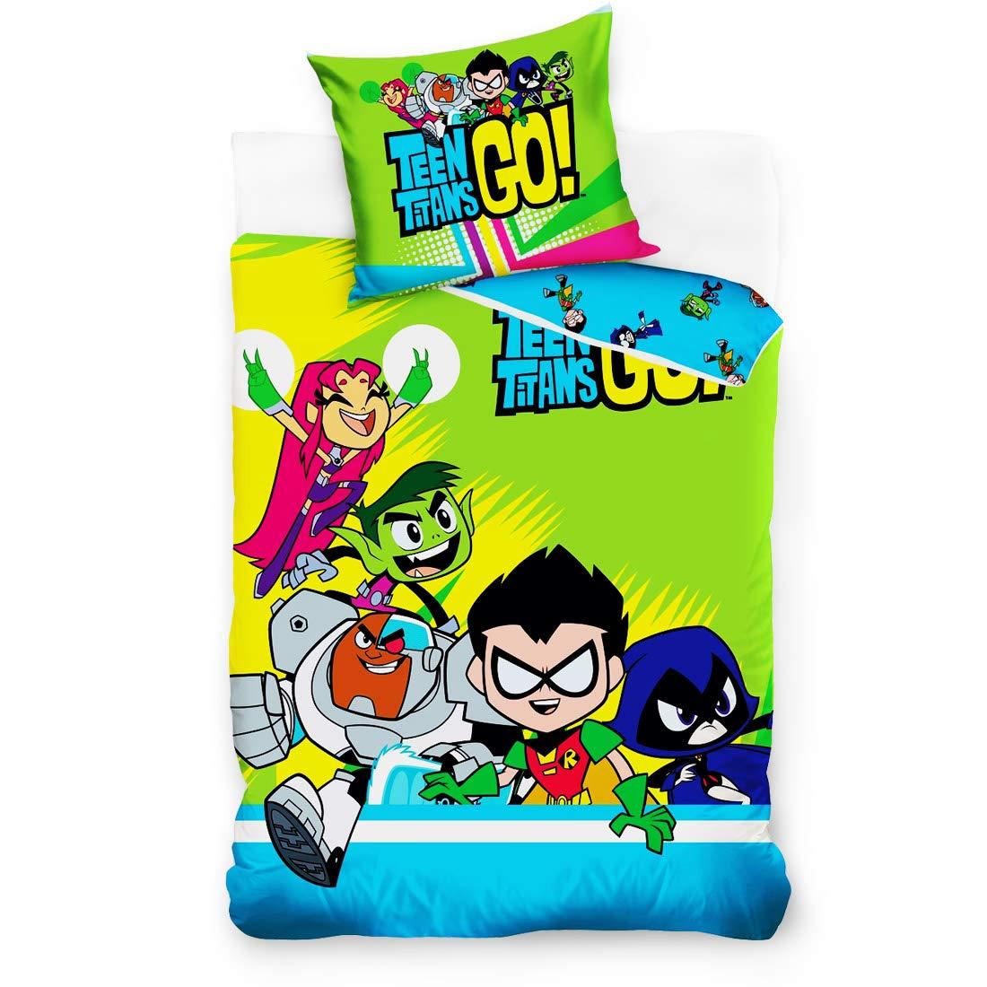 DC Comics bedding set TEEN TITANS Printed Raven,Robin,Starfire,Beast Boy,Cyborg.Single bed size for boys and girls 100/% Cotton Duvet cover 140cmx 200cm Pillow Case 70x80cm Zippered Non Allergenic